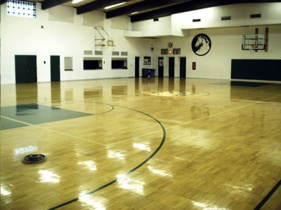Gymnasium wood refinishing